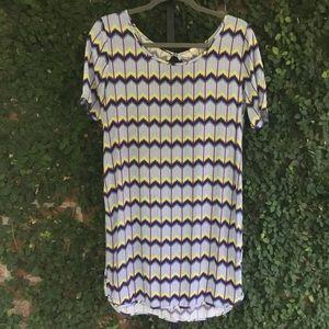 Roxy Chevron Shirtdress Yellow Purple Blue Small